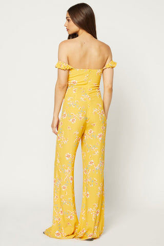 FLYNN SKYE Bardot Jumpsuit - Touch Of Honey Jumpsuit | Touch Of Honey| Flynn Skye Bardot Jumpsuit - Touch Of Honey Button detailing Ruffle sleeves worn on or off shoulders 100% Rayon Dry clean Made in Los Angeles Back View