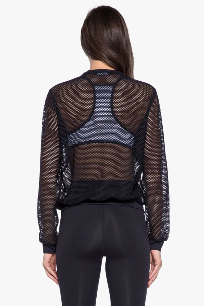 KORAL Base Open Mesh Bomber Jacket - Black Jacket   Black  Koral Base Bomber Jacket - Black. Features:   Open Mesh Bomber Jacket  Front Zipper Closure Ribbed Cuffs, Neck, & Waistband  Made in USA  Back View