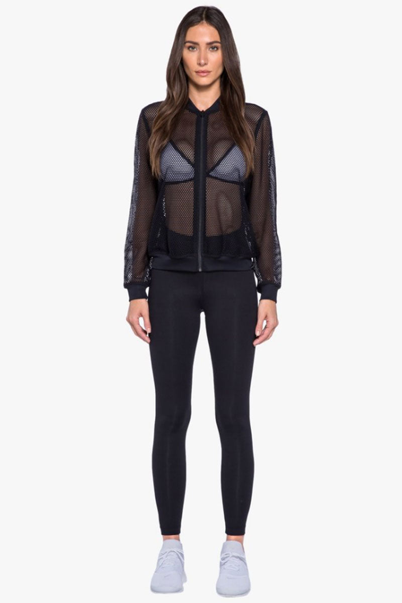 KORAL Base Open Mesh Bomber Jacket - Black Jacket   Black  Koral Base Bomber Jacket - Black. Features:   Open Mesh Bomber Jacket  Front Zipper Closure Ribbed Cuffs, Neck, & Waistband  Made in USA  Front View
