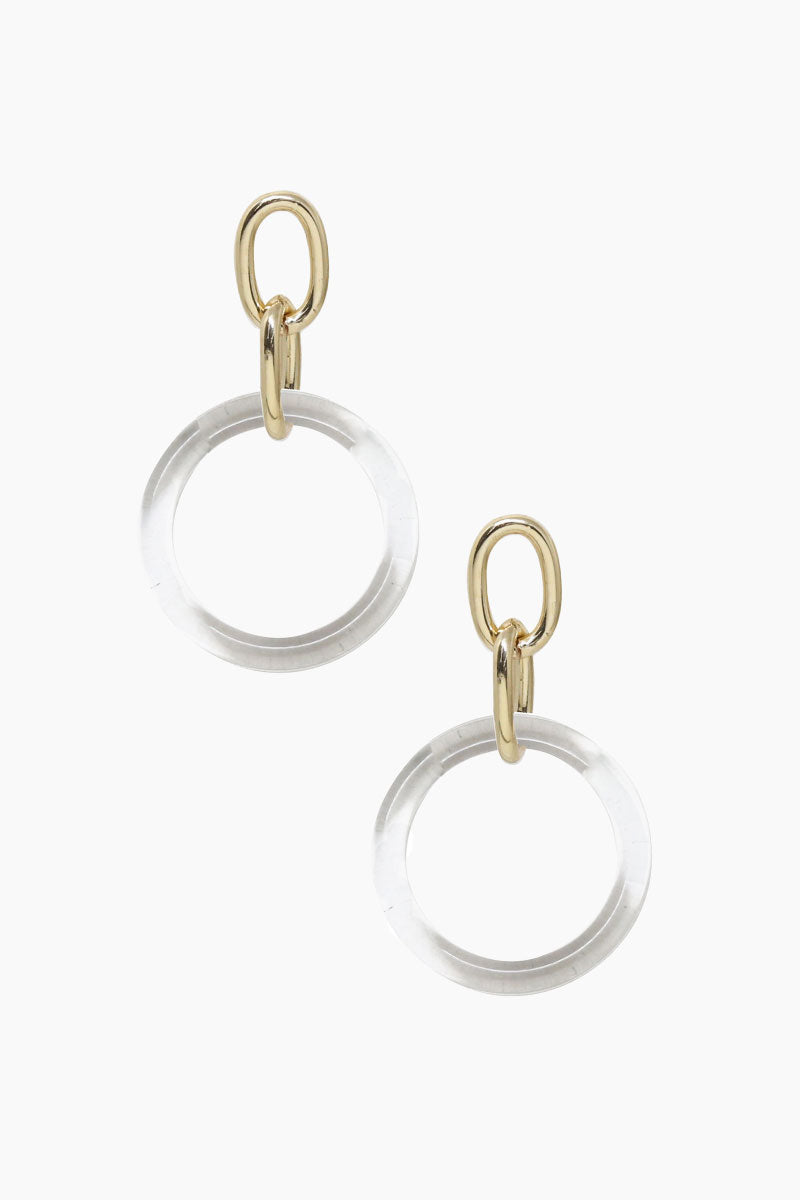 ETTIKA Be True Earrings - Clear & Gold Jewelry | Clear & Gold| Ettika Be True Earrings - Clear & Gold Full View Clear Hoops Detail  18kt Gold Plated Chain Loops  Surgical Steel Posts  Nickel Free  Length: 3 inches