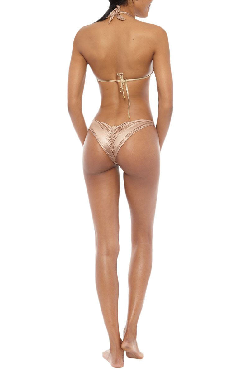 BEACH BUNNY Low Rise Scrunch Bottom Bikini Bottom | Brown Sugar| Beach Bunny Low Rise Scrunch Bottom
