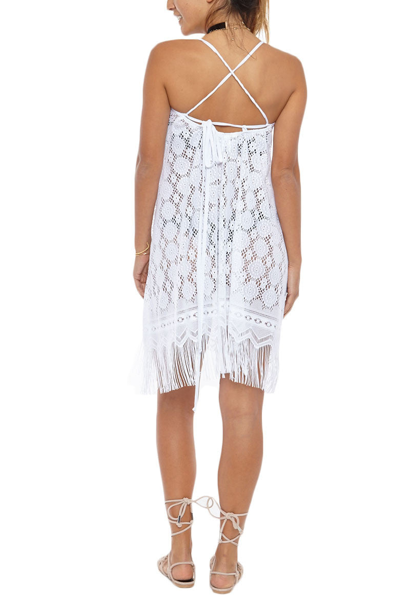 BEACH HABITAT Strappy Fringe Lace Cover-Up Mini Dress - Ivory White Cover Up | Ivory White| Beach Habitat Strappy Fringe Lace Cover-Up Mini Dress - Ivory White Fringe hemline Criss cross straps at back 100% Polyester Back View