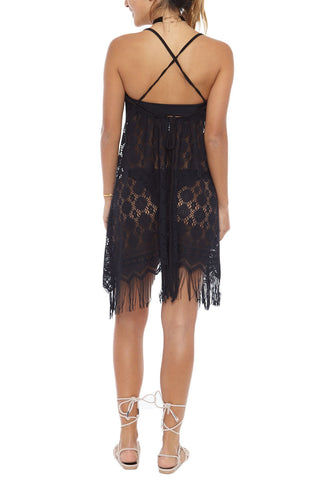 BEACH HABITAT Strappy Fringe Lace Cover-Up Mini Dress - Black Cover Up | Black| Beach Habitat Strappy Fringe Tank Dress