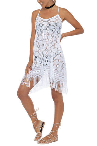 BEACH HABITAT Strappy Fringe Lace Cover-Up Mini Dress - Ivory White Cover Up | Ivory White| Beach Habitat Strappy Fringe Lace Cover-Up Mini Dress - Ivory White Fringe hemline Criss cross straps at back 100% Polyester Front View