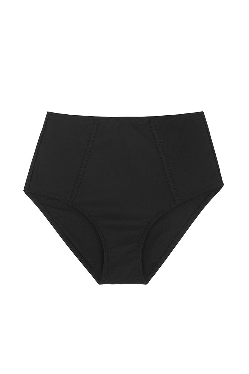 BEACH JOY High Waisted Bottom Bikini Bottom | Black| Beach Joy High Waisted Bottom. Features:  Solid waist band on bottoms for snug fit High waisted Fully lined Front View