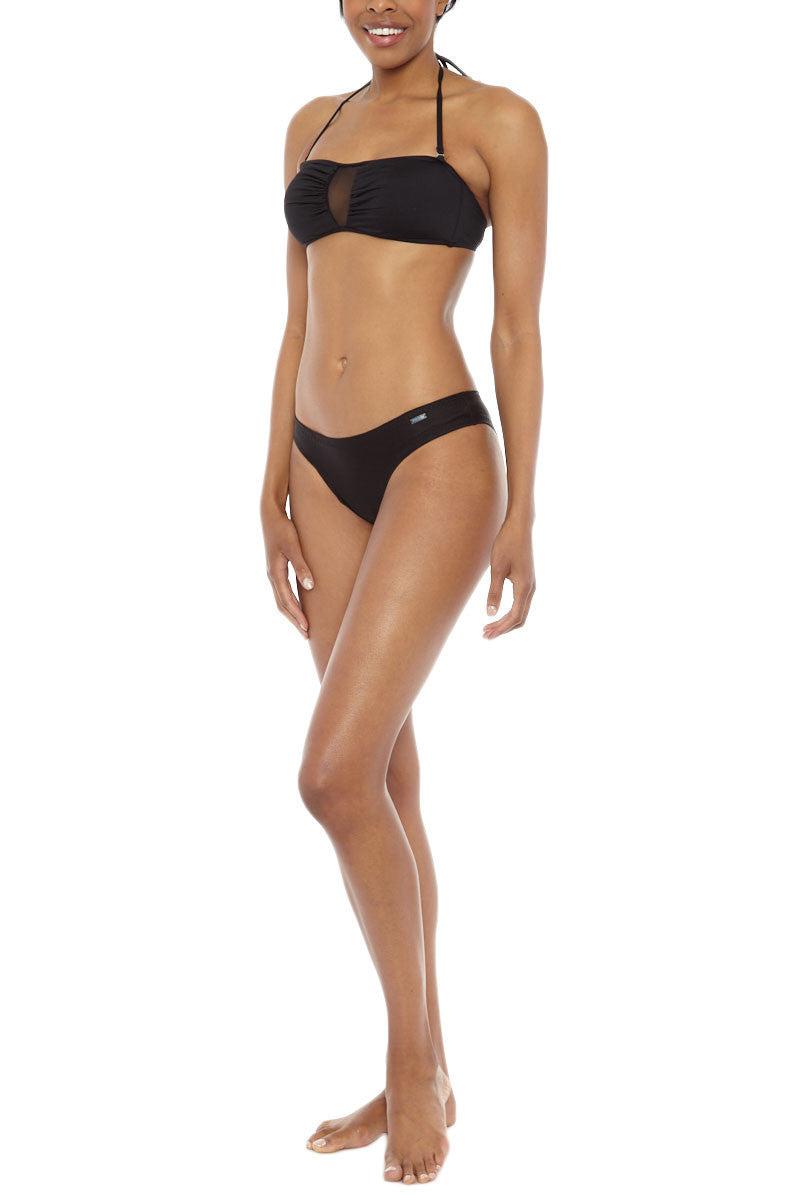BEACH JOY Mesh Removable Strap Bikini Top - Black Bikini Top | Black| Beach Joy Mesh Removable Strap Bikini Top - Black. Front Side View. Removable Strap. Fully Lined.