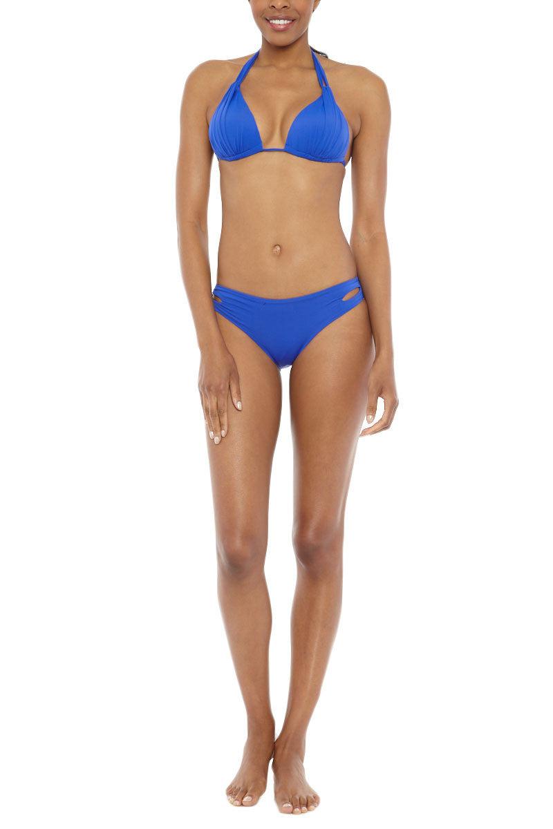 BEACH JOY Pleated Triangle Bikini Top - Electric Blue Bikini Top | Electric Blue| Beach Joy Pleated Triangle Bikini Top
