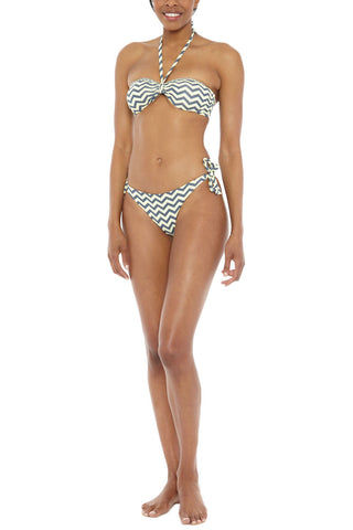 BEACH JOY Reversible Center Tie Bandeau Bikini Top - Yellow/Gray Zig Zag Bikini Top | Reversible Yellow & Gray| Beach Joy Reversible Bikini Top