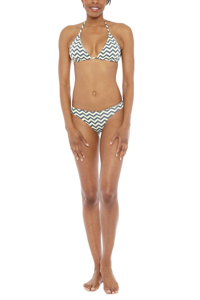 BEACH JOY Reversible Cheeky Bikini Bottom - Yellow/Gray Zig Zag Bikini Bottom   Reversible Yellow & Gray  Beach Joy Reversible Bikini Bottom