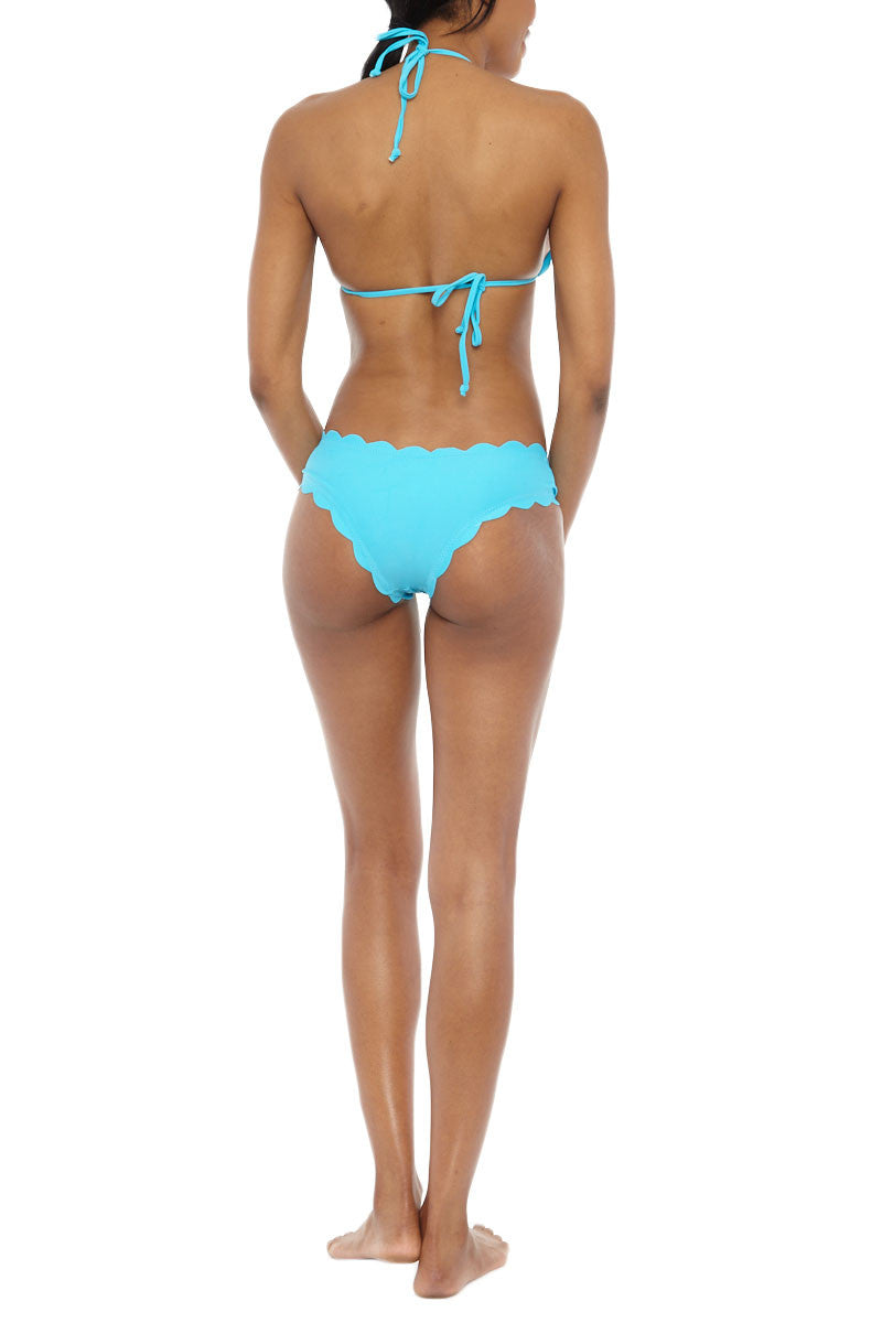 BEACH JOY Scalloped Triangle Bikini Top - Aqua Blue Bikini Top | Aqua Blue| Beach Joy Scalloped Triangle Bikini Top - Aqua Blue Scalloped edge bikini top in aqua blue. Soft stretch swim fabric in vibrant aqua blue is fully lined and a perfect addition to any swim wardrobe. Classic halter neck and back tie closures allow you to adjust to find the perfect fit.  Lightly padded sliding triangle top  Back View