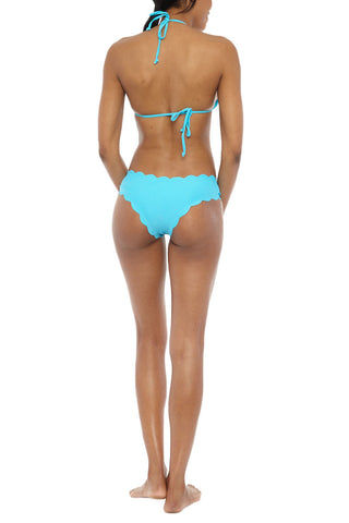 BEACH JOY Scallop Edge Triangle Bikini Top - Aqua Bikini Top | Aqua| Beach Joy Scallop Edge Triangle Bikini Top - Aqua. Features:  Adjustable triangle top Scallop detail Lightly padded 82% Nylon, 18% Spandex Back View