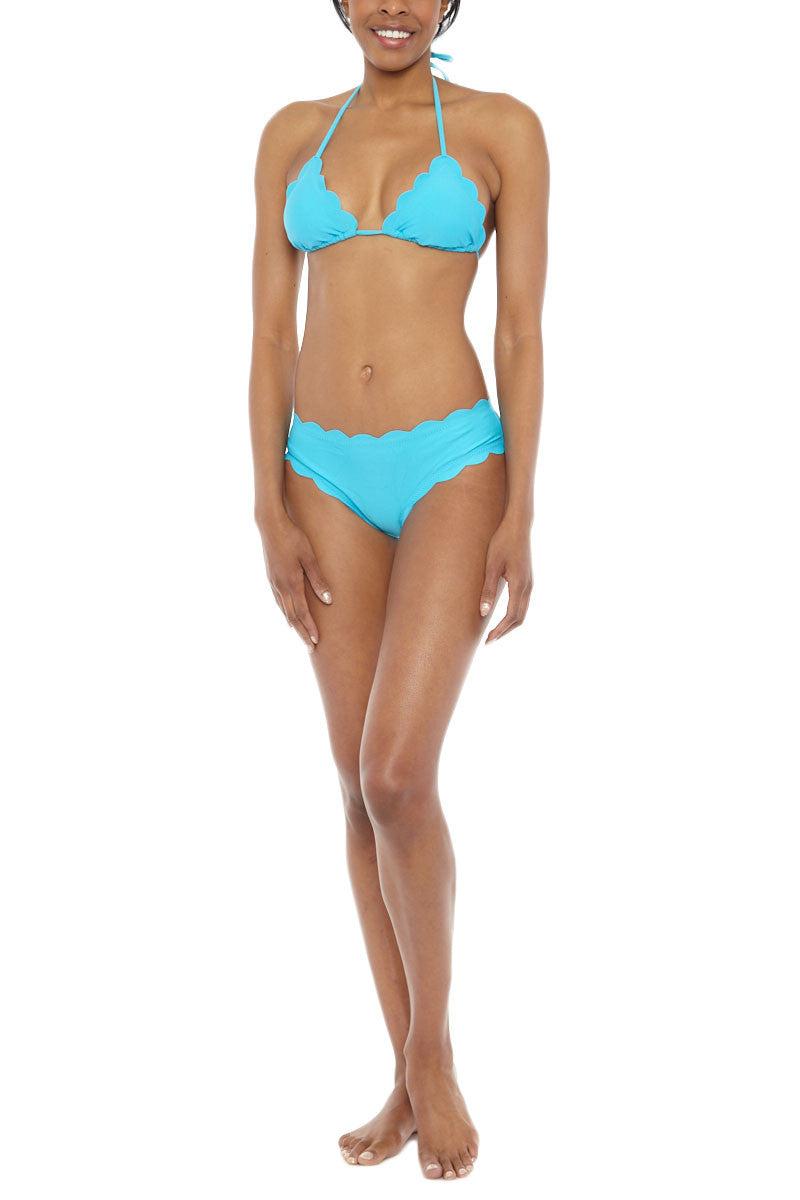 BEACH JOY Scallop Edge Triangle Bikini Top - Aqua Bikini Top   Aqua  Beach Joy Scallop Edge Triangle Bikini Top - Aqua. Features:  Adjustable triangle top Scallop detail Lightly padded 82% Nylon, 18% Spandex Front View