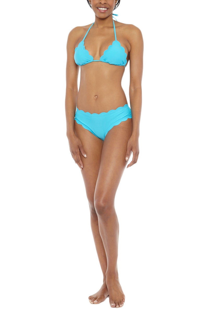 BEACH JOY Scalloped Triangle Bikini Top - Aqua Blue Bikini Top | Aqua Blue| Beach Joy Scalloped Triangle Bikini Top - Aqua Blue Scalloped edge bikini top in aqua blue. Soft stretch swim fabric in vibrant aqua blue is fully lined and a perfect addition to any swim wardrobe. Classic halter neck and back tie closures allow you to adjust to find the perfect fit.  Lightly padded sliding triangle top  Front View
