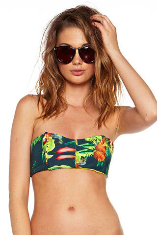 BEACH RIOT Get Lucky Bandeau Bikini Top - Jungle Love Bikini Top | Jungle Love| Beach Riot Get Lucky Bandeau Bikini Top - Jungle Love. Front View. Double lined. Side Wires for support
