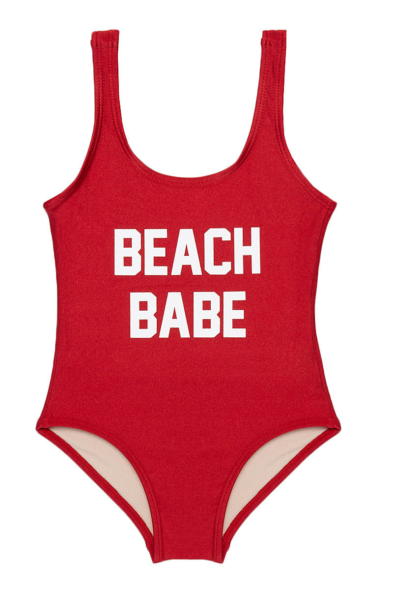 "PRIVATE PARTY KIDS BEACH BABE One Piece Kids One Piece | Red| Private Party Kids BEACH BABE One Piece ""BEACH BABE"" Graphic Text on Front Wide, Non Adjustable Shoulder Straps Hardware-Free Easy Pull-On Style Built-In Lining Full Rear Coverage"