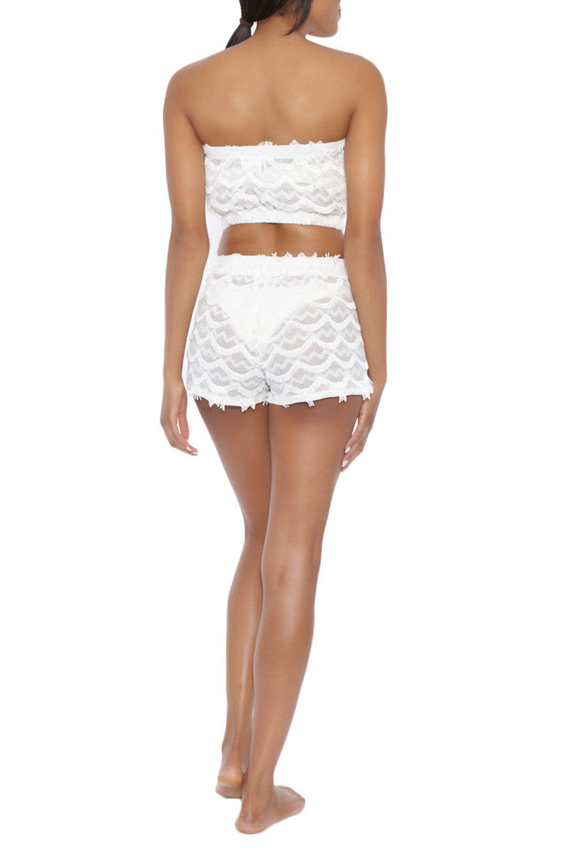 BEACH HABITAT Lace Strapless Bandeau Crop Top - Ivory White Top   Ivory White  Beach Habitat Beach Habitat Lace Strapless Bandeau Crop Top - Ivory White Scalloped fringe detail  97% Polyester, 3% Spandex Back View