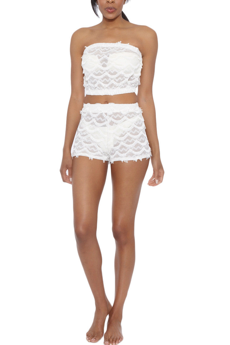 BEACH HABITAT Lace Strapless Bandeau Crop Top - Ivory White Top   Ivory White  Beach Habitat Beach Habitat Lace Strapless Bandeau Crop Top - Ivory White Scalloped fringe detail  97% Polyester, 3% Spandex Front View