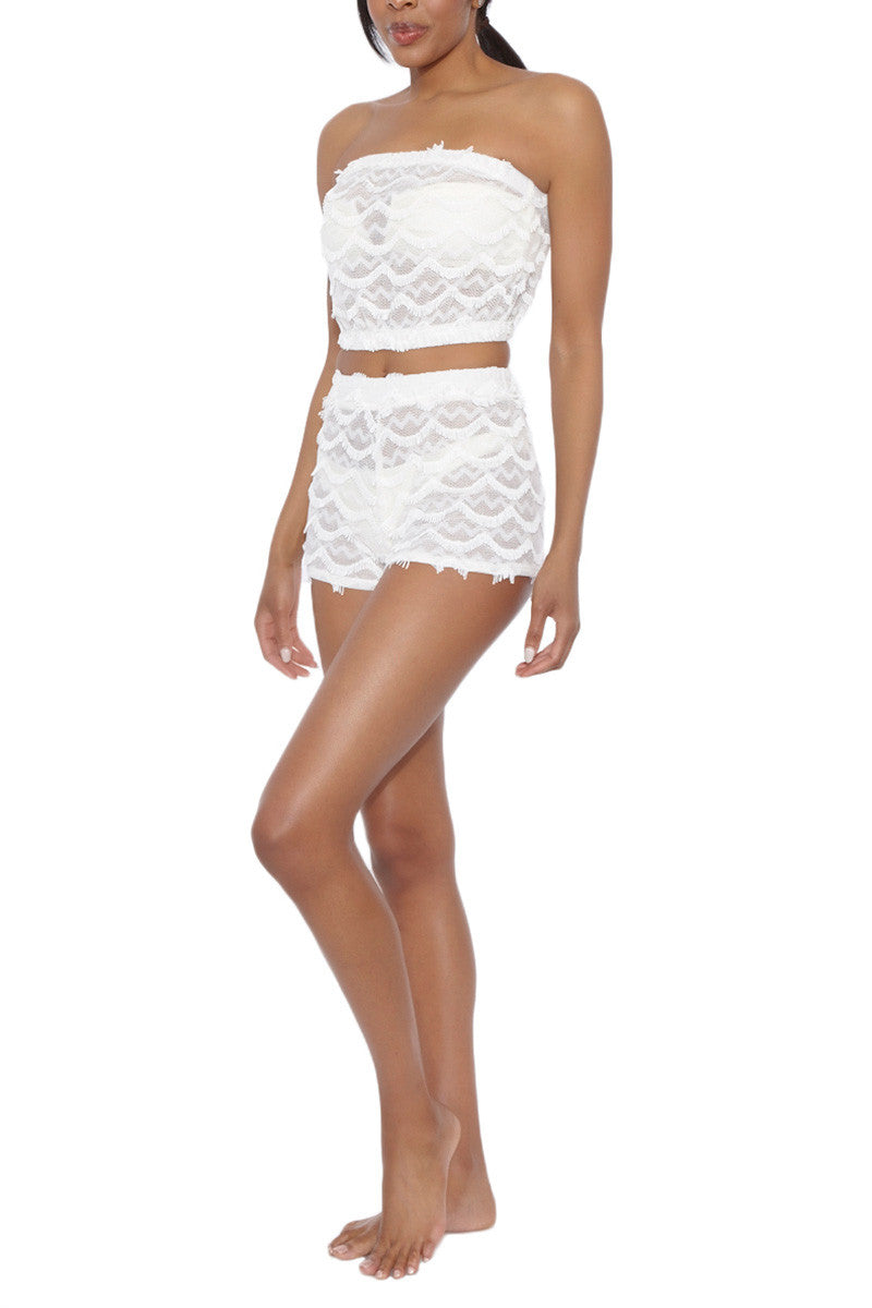BEACH HABITAT Lace Strapless Bandeau Crop Top - Ivory White Top   Ivory White  Beach Habitat Beach Habitat Lace Strapless Bandeau Crop Top - Ivory White Scalloped fringe detail  97% Polyester, 3% Spandex Side View