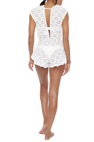 BEACH HABITAT Lace Plunging V-Neck Romper - Ivory White Romper | Ivory White | Beach Habitat Lace Plunging V-Neck Romper - Ivory White Deep V neckline Deep V back Scalloped fringe detail Wide cut arms 97% Polyester, 3% Spandex Back View