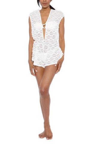 BEACH HABITAT Lace Plunging V-Neck Romper - Ivory White Romper | Ivory White | Beach Habitat Lace Plunging V-Neck Romper - Ivory White Deep V neckline Deep V back Scalloped fringe detail Wide cut arms 97% Polyester, 3% Spandex Front View