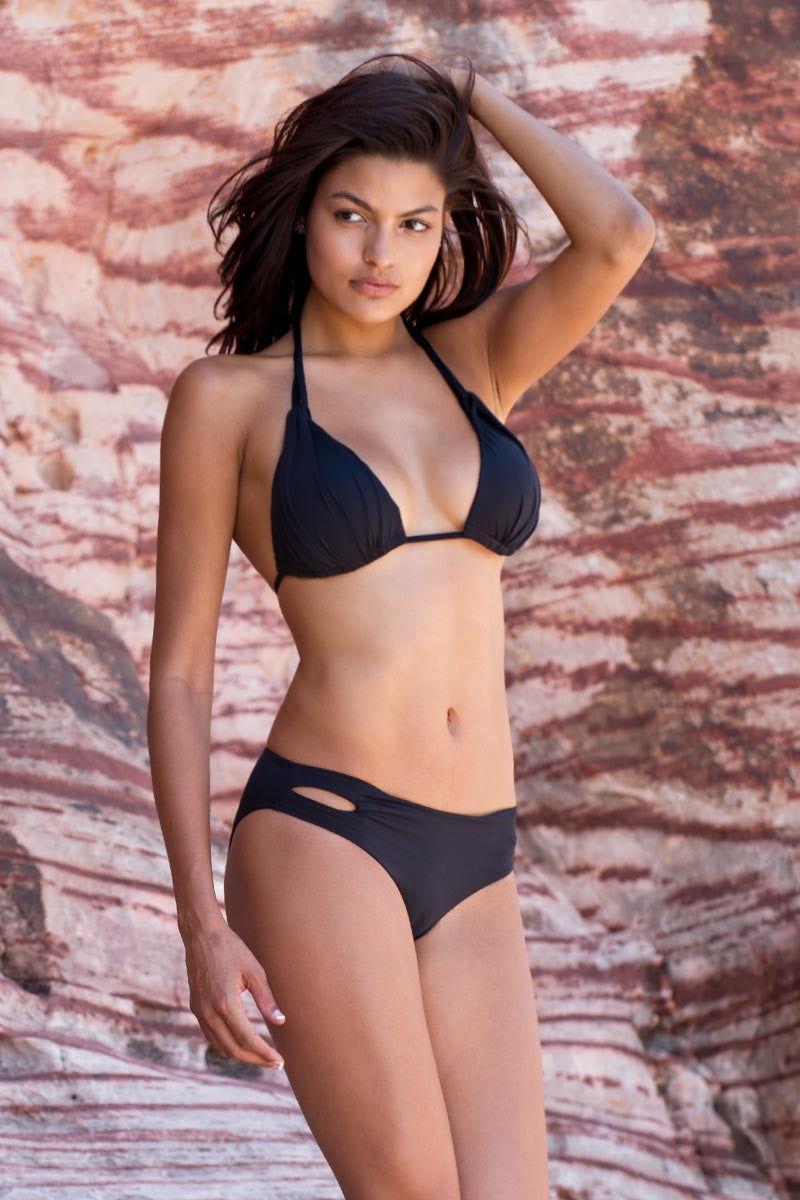 BEACH JOY Cut Out Bikini Bottom Bikini Bottom | Black|