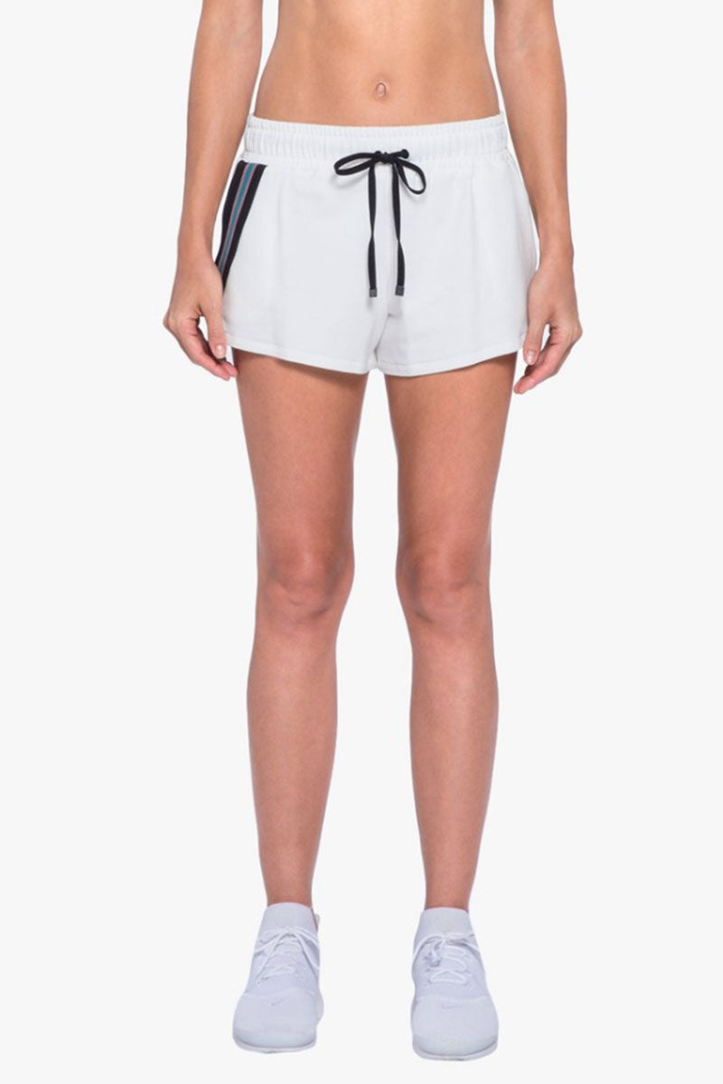 KORAL Beam Drawstring Terry Shorts - White Shorts | White| Koral Beam Shorts - White. Features: Short with strip trim detail.  Meant for Athleisure performance. Drawstring Tie Made in USA Front View