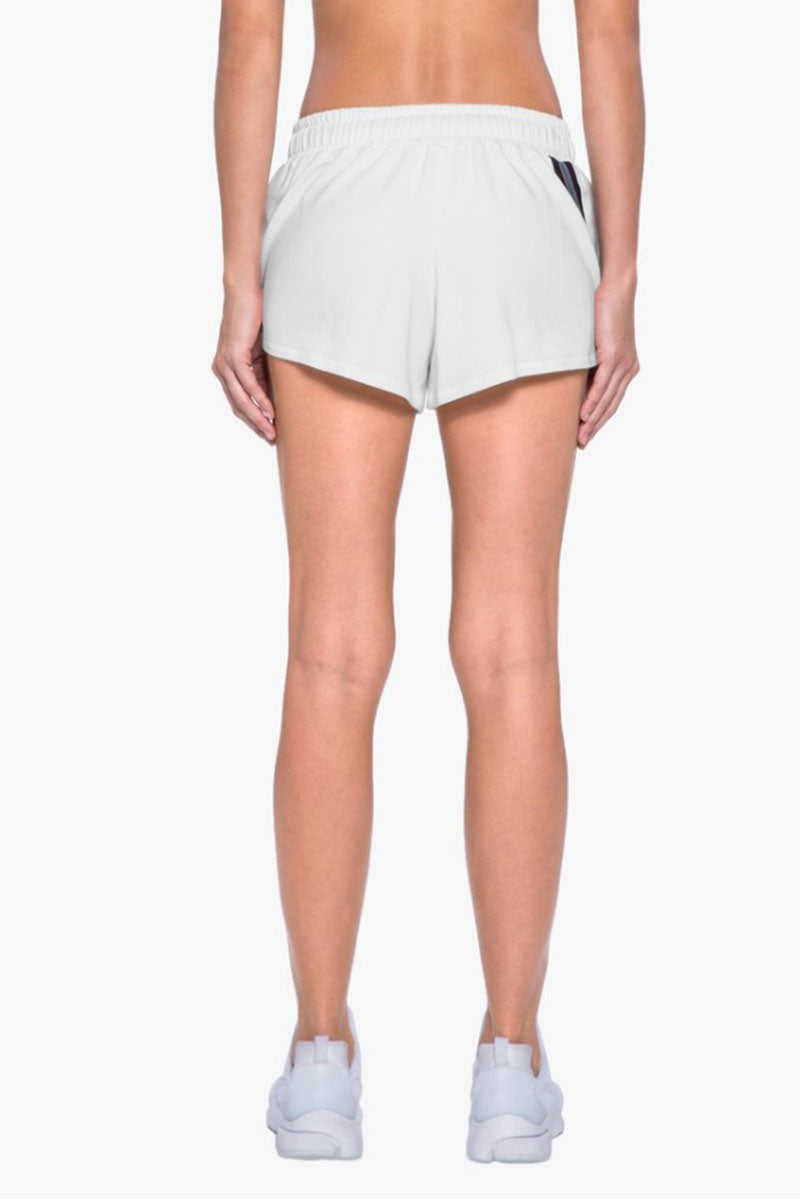 KORAL Beam Drawstring Terry Shorts - White Shorts | White| Koral Beam Shorts - White. Features: Short with strip trim detail.  Meant for Athleisure performance. Drawstring Tie Made in USA Back View