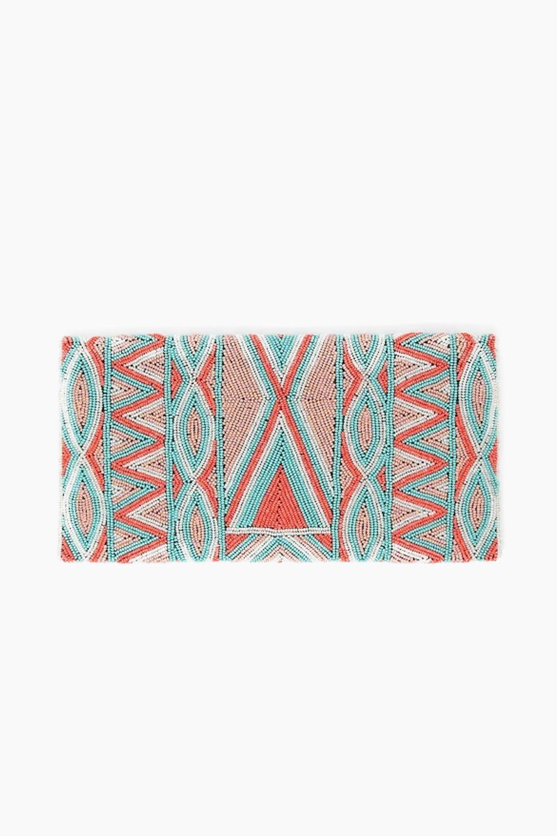 ASPIGA Becka Clutch - Coral/Sea Green Bag | Coral/ Sea Green| Aspiga Becka Clutch - Coral/Sea Green Stunning beaded clutch Envelope fold over Magnetic clasp closure Separate internal pocket for phone Optional strap allowing it to be worn over shoulder or tucked under arm Back View