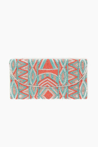 ASPIGA Becka Clutch - Coral/Sea Green Bag | Coral/ Sea Green| Aspiga Becka Clutch - Coral/Sea Green Stunning beaded clutch Envelope fold over Magnetic clasp closure Separate internal pocket for phone Optional strap allowing it to be worn over shoulder or tucked under arm Front View
