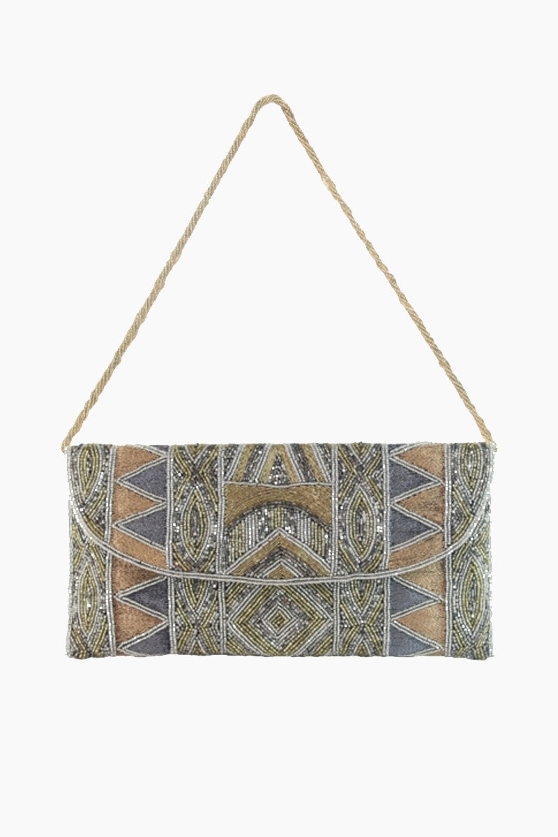 ASPIGA Becka Clutch - Goldshine Bag | Goldshine| Aspiga Becka Clutch - Goldshine Stunning beaded clutch Envelope fold over Magnetic clasp closure Separate internal pocket for phone Optional strap allowing it to be worn over shoulder or tucked under arm Front View