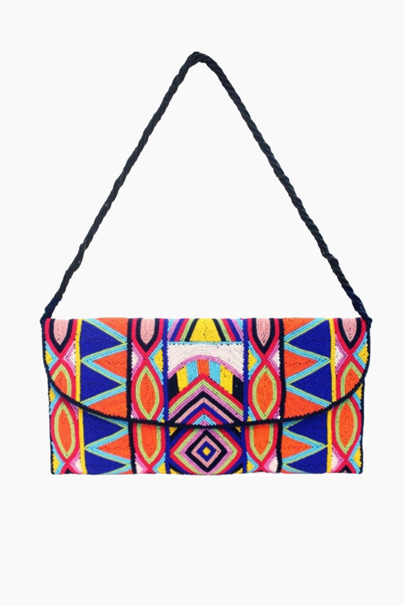 ASPIGA Becka Clutch - Multicolor Bag | Multicolor| Aspiga Becka Clutch - Multicolor Stunning beaded clutch Envelope fold over Magnetic clasp closure Separate internal pocket for phone Optional strap allowing it to be worn over shoulder or tucked under arm  Front View