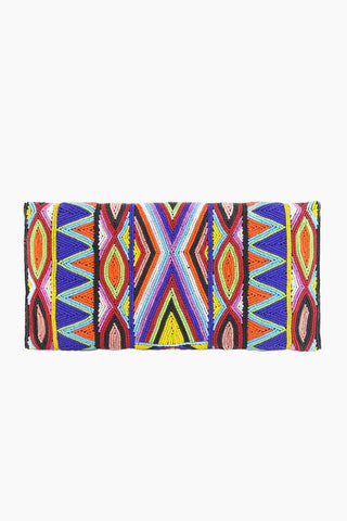 ASPIGA Becka Clutch - Multicolor Bag | Multicolor| Aspiga Becka Clutch - Multicolor Stunning beaded clutch Envelope fold over Magnetic clasp closure Separate internal pocket for phone Optional strap allowing it to be worn over shoulder or tucked under arm  Back View