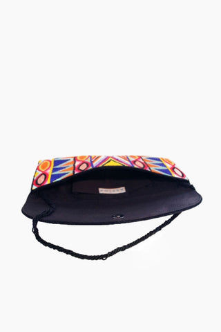 ASPIGA Becka Clutch - Multicolor Bag | Multicolor| Aspiga Becka Clutch - Multicolor Stunning beaded clutch Envelope fold over Magnetic clasp closure Separate internal pocket for phone Optional strap allowing it to be worn over shoulder or tucked under arm  Open View