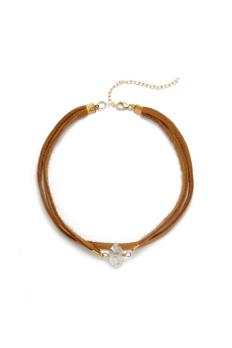 BLAINE BOWEN Bella Choker Jewelry | Suede /Quartz| Blaine Bowen Bella Choker
