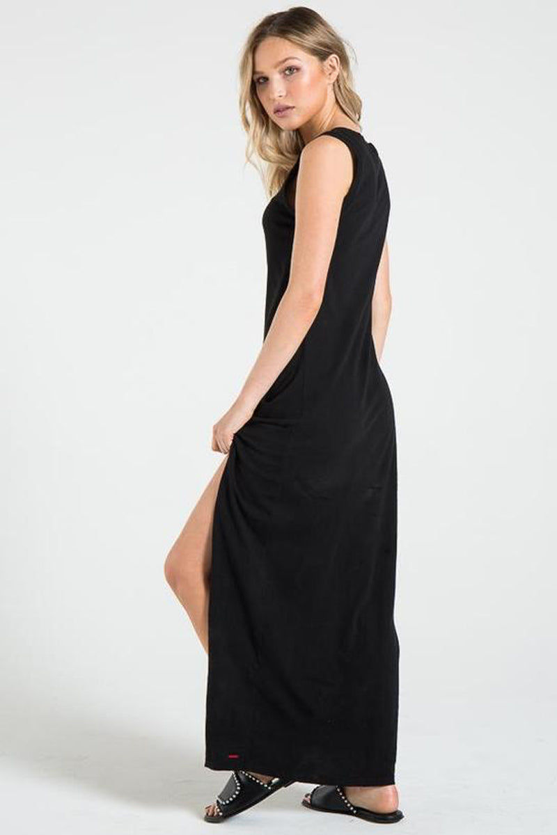 N:PHILANTHROPY Bessie Dress - Black Cat Dress | Black Cat| n:Philanthropy Bessie Dress - Black Cat V neckline  Maxi dress  Twist detail at front by the side split Rib band detail  Made in LA  Back View