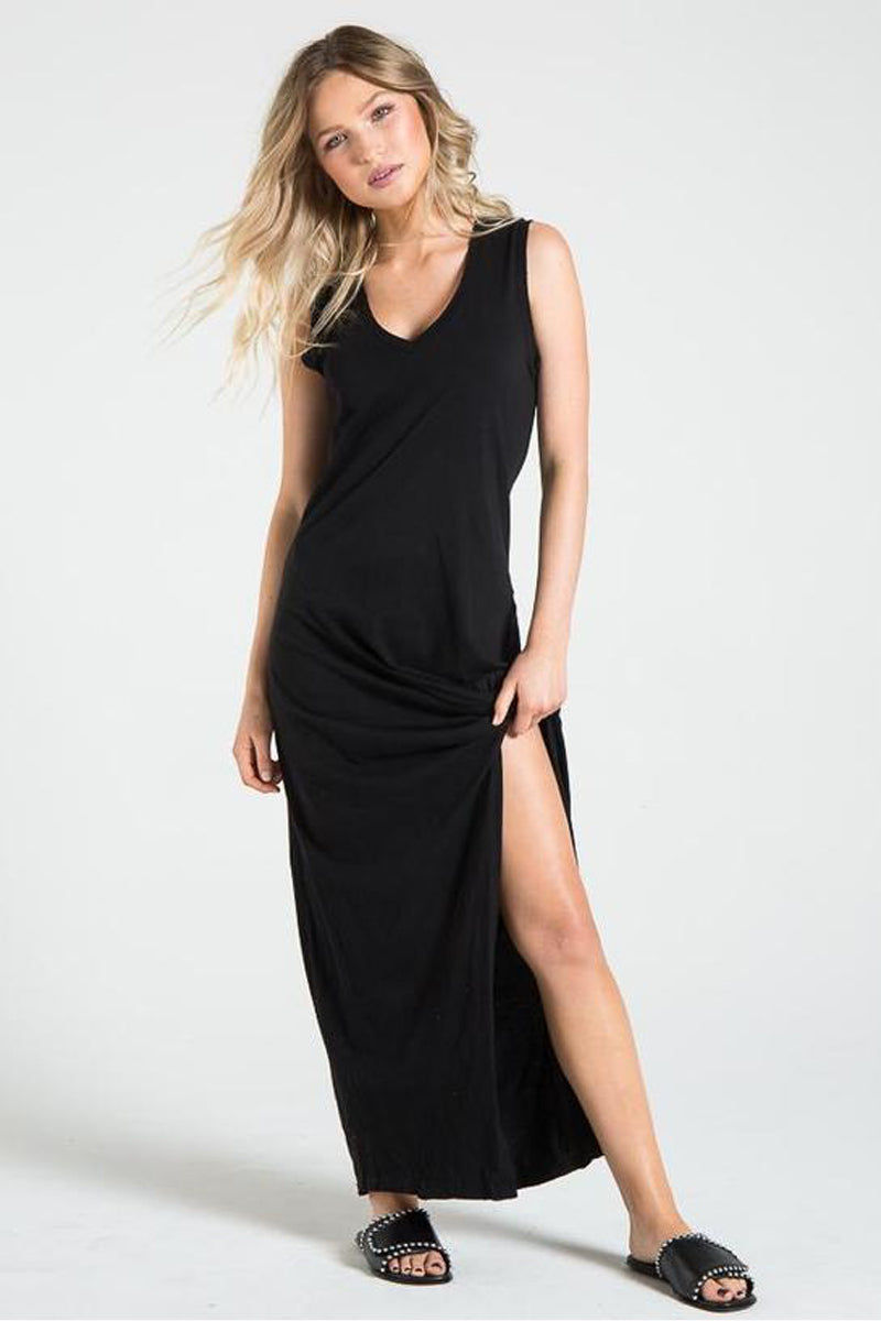 N:PHILANTHROPY Bessie Slit Maxi Dress - Black Cat Dress | Black Cat| n:Philanthropy Bessie Dress - Black Cat V neckline  Maxi dress  Twist detail at front by the side split Rib band detail  Made in LA  Front View