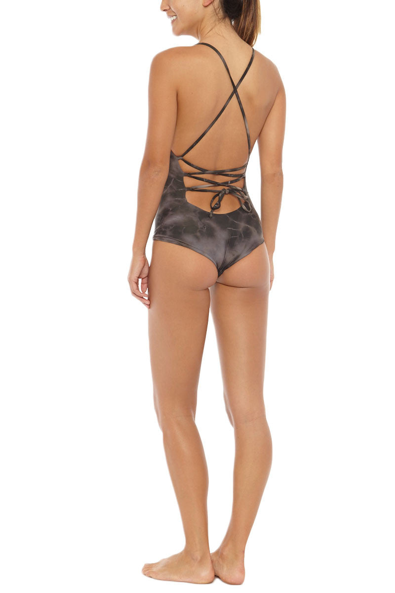 BETTINIS Lace-Up Back Cheeky One Piece Swimsuit - Sand Brown Tie Dye Print One Piece | Sand Brown Tie Dye Print| Bettinis Lace-Up Back Cheeky One Piece Swimsuit - Sand Brown Tie Dye Print  Open, lace up back Adjustable shoulder straps Double lined, no padding 83% Nylon, 17% Spandex Back View