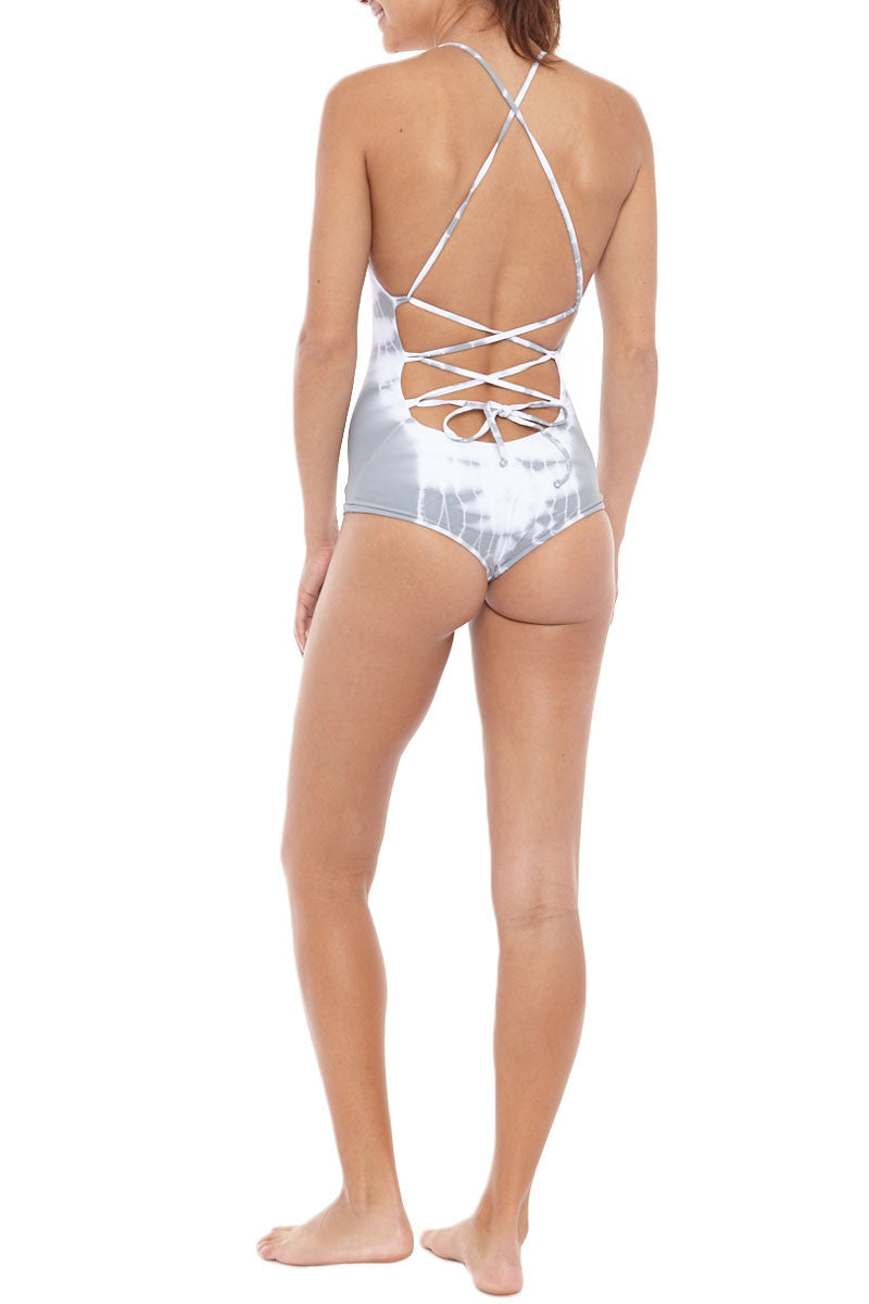 BETTINIS Lace-Up Back Cheeky One Piece Swimsuit - Grey Tie Dye Print One Piece | Grey Tie Dye Print|  Bettinis Lace-Up Back Cheeky One Piece Swimsuit - Grey Tie Dye Print Open, lace up back Adjustable shoulder straps Double lined, no padding 83% Nylon, 17% Spandex Back View