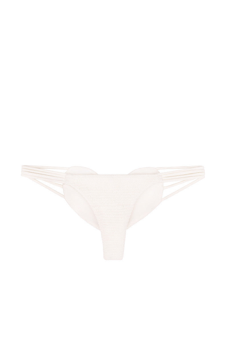 BETTINIS Bone Smocked Heart Bottom Bikini Bottom | Bone| Bettinis Bone Smocked Heart Bikini Bottom