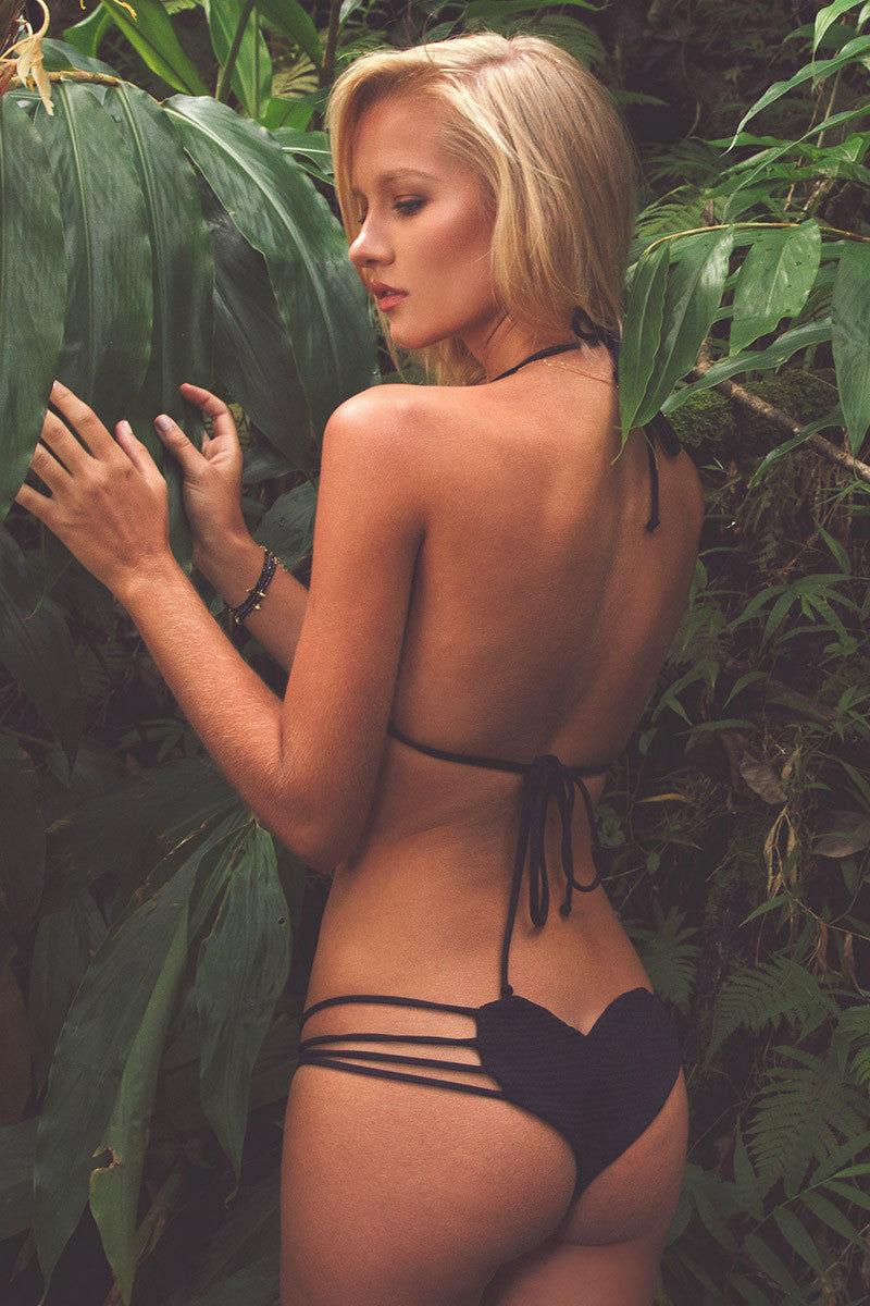 BETTINIS Black Smocked Triangle Top Bikini Top   Black Lili