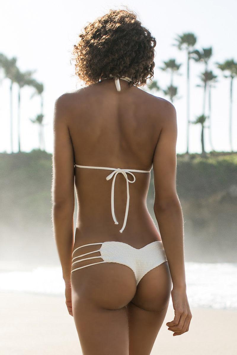BETTINIS Bone Smocked Triangle Top Bikini Top   Bone Rachel