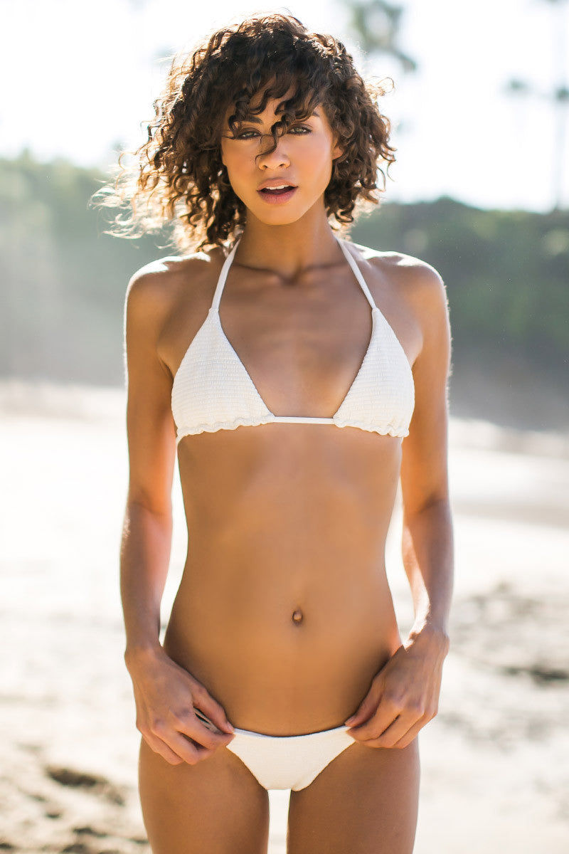BETTINIS Bone Smocked Triangle Top Bikini Top | Bone|Rachel