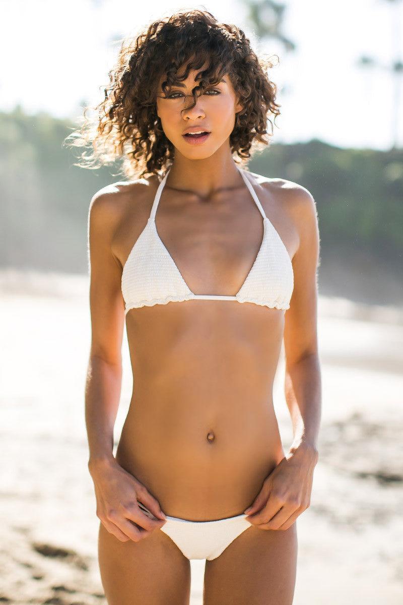 BETTINIS Bone Smocked Heart Bottom Bikini Bottom | Bone|Rachel