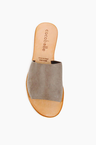 COCOBELLE Bhea Slides - Grey Sandals | Grey | Cocobelle Bhea Slides - Grey. Features: This beautifully minimal slide sandal will go with just about anything. Handmade in Italy, these sandals are made of 100% leather and will only get better with age.   Handmade in Italy 100% Leather Front View