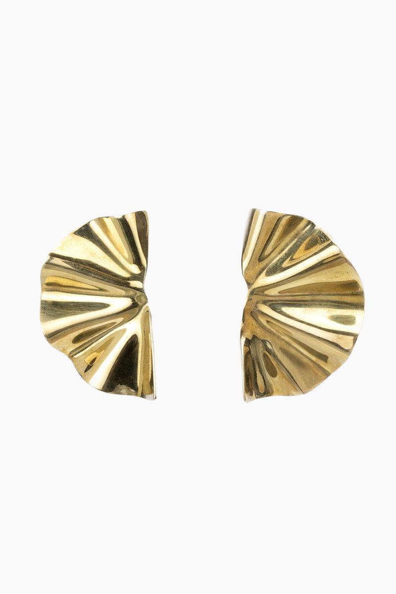 SOKO JEWELRY Bidu Fanned Stud Earrings - Brass Jewelry | Brass|Soko Jewelry Bidu Fanned Studs - Brass Fanned out stud earrings Recycled polished brass Handcrafted in Kenya Front View