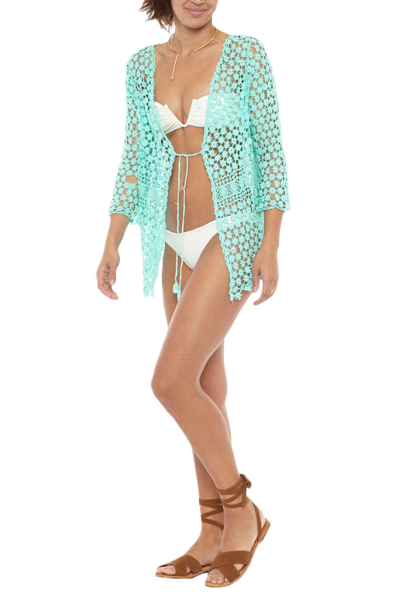 BIKINI.COM Crochet Long Sleeve Cardigan - Mint Cover Up | Mint|Bikini.Com Crochet Long Sleeve Cardigan