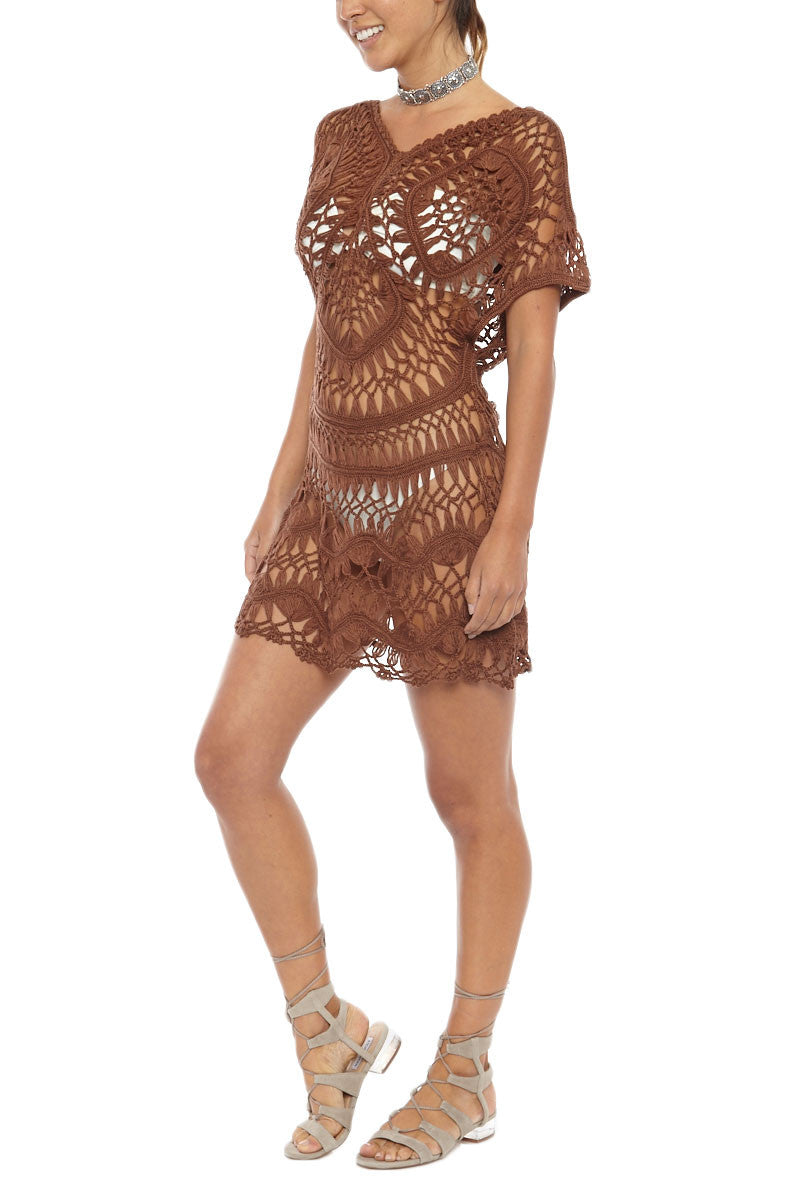 BIKINI.COM Crochet Cover Up Dress - Espresso Cover Up | Espresso|Bikini.com Crochet Dress
