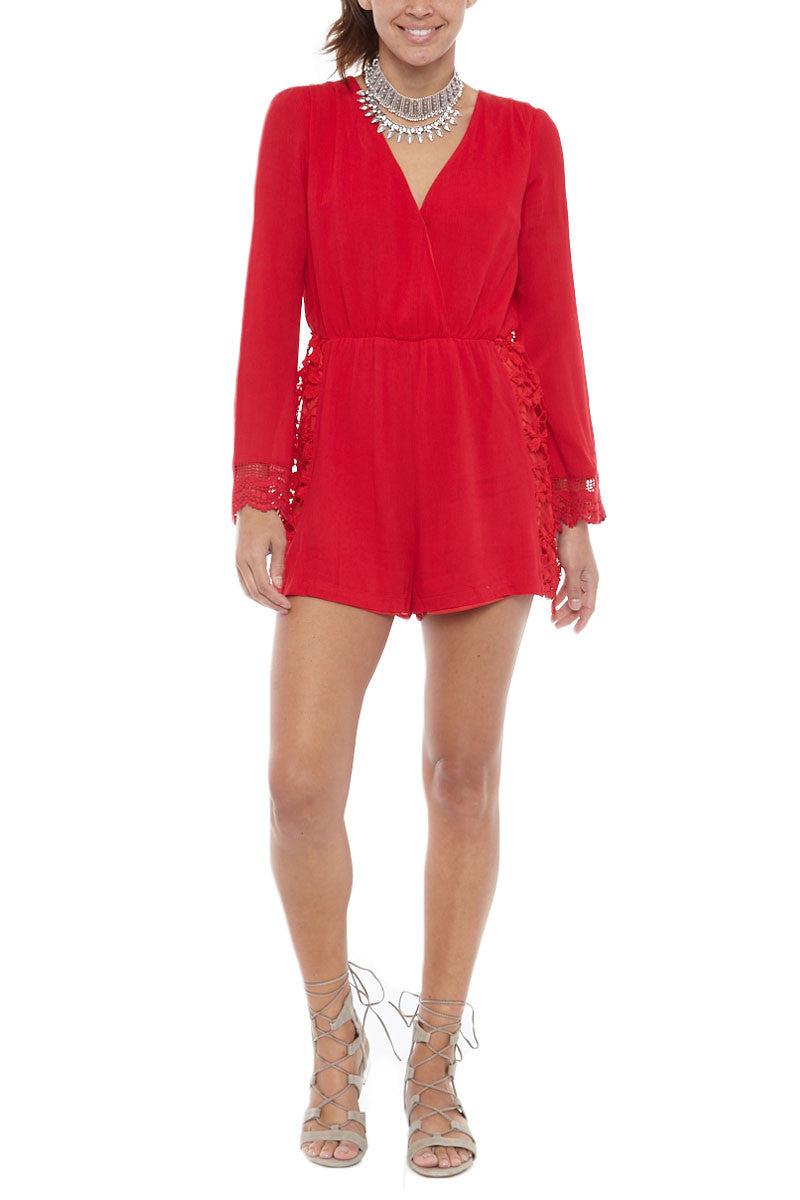 BIKINI.COM Lace Romper - Red Romper | Red|Bikini.com Lace Romper