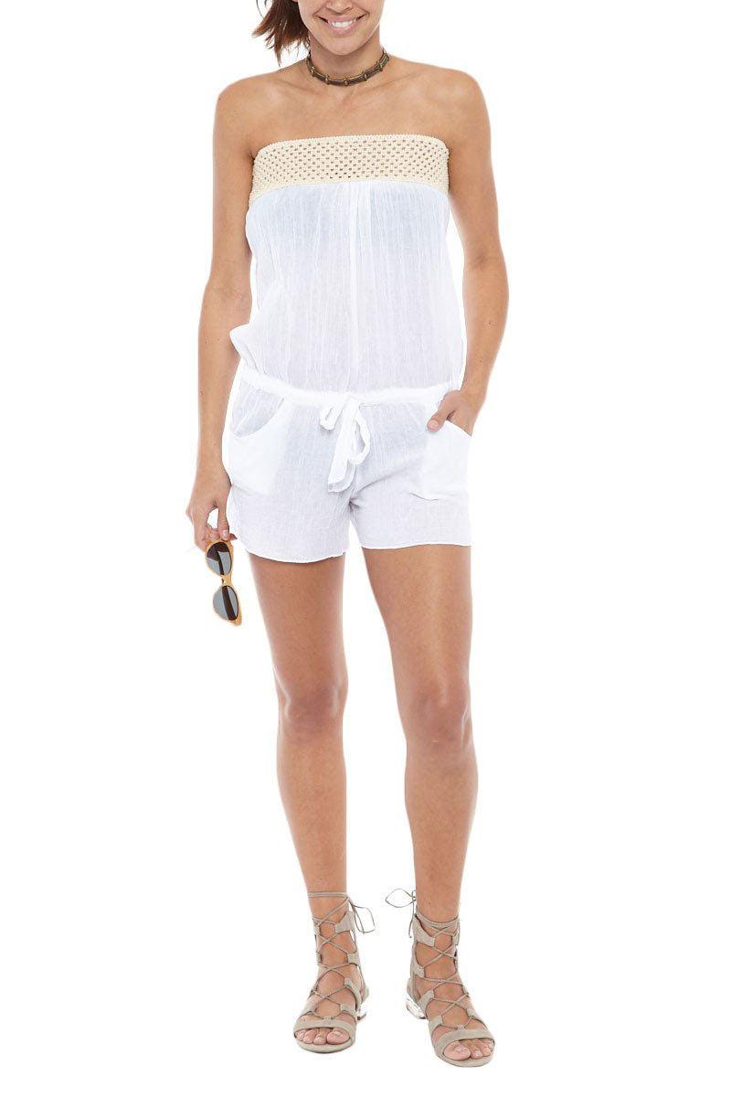 BIKINI.COM Strapless Romper - White Romper | White| Bikini.com Strapless Romper