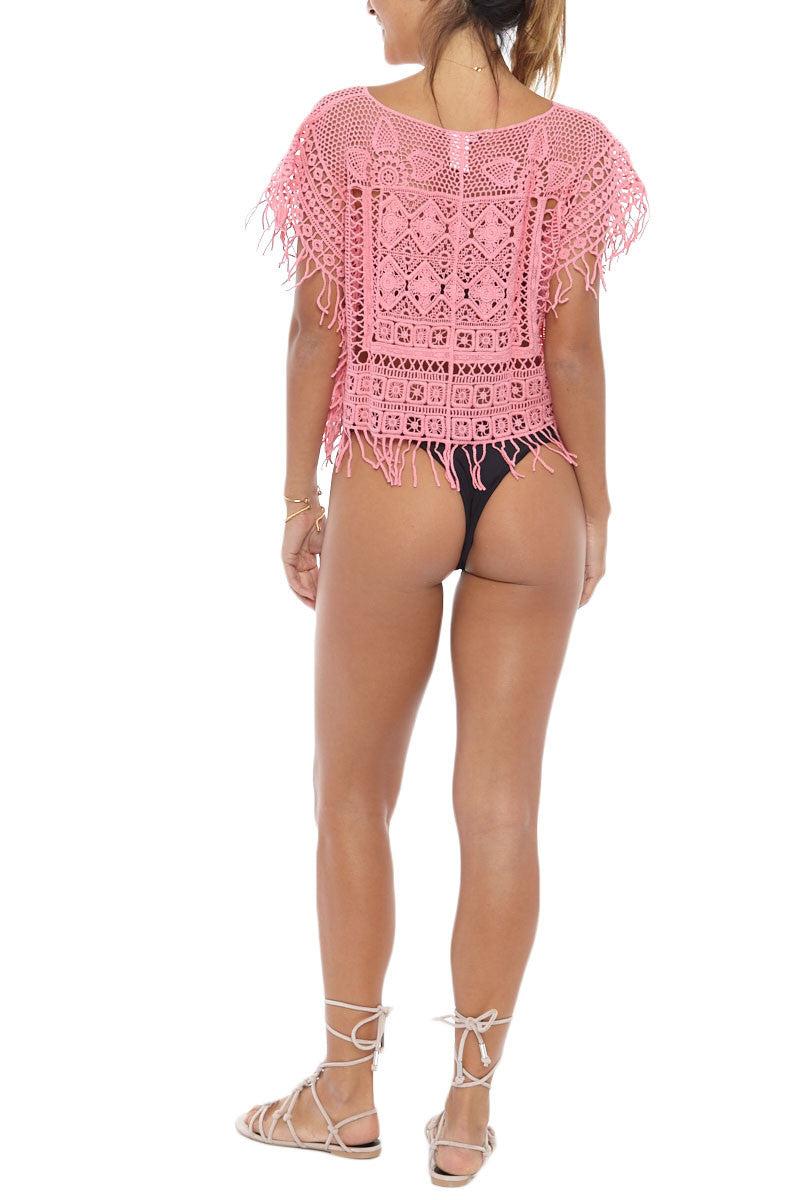 BIKINI.COM Pink Cropped Poncho Cover Up | Pink|Bikini.com Pink Cropped Poncho